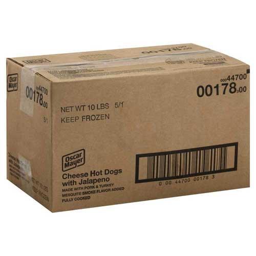 (Oscar Mayer Jalapeno & Cheese Hot Dog ,6 inch -- 10 lbs. per case)