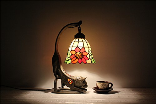 TOYM-7-inch European creative Tiffany Art Animals cat bed study desk Children's Writing Desk lamp sunflowers table lamp by New Tiffany Table Lamp