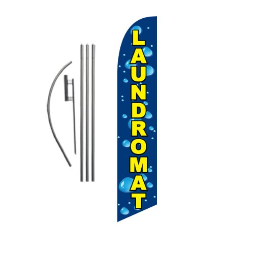 Laundromat Advertising Feather Banner Swooper Flag Sign with Flag Pole Kit and Ground Stake