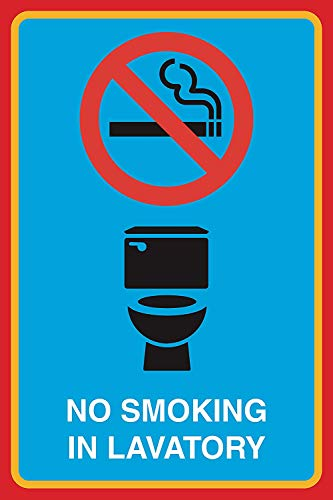 New Great No Smoking in Lavatory Print Toilet Bathroom Restroom No Smoking Picture Business Office Sign Aluminum M,12x18 for Outside/Inside,4 Pack