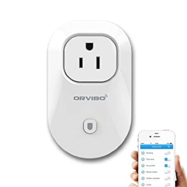 Orvibo Wi-Fi Smart Socket Outlet US Plug, Turn ON/OFF Electronics from Anywhere, White (WiWo-S20)