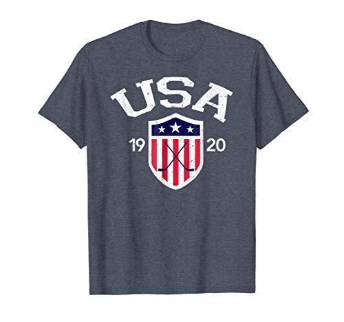 Mens Vintage USA National Hockey T-shirt Medium Heather Blue