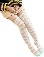 qwj Womens Stripe Over Knie Hoge Fuzzy Sokken Lange Kerst Sokken van HuangMeihua