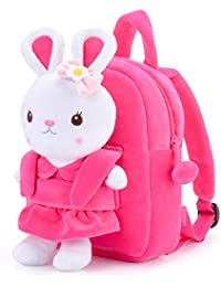 Girls Backpack Easter Bunny Backpack with Plush Bunny Toy Pink 9 Inches