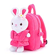"""Gloveleya Kids Backpack Girl Toys Toddler Backpack for Girls with Stuffed Bunny Toy Rose Red 9"""""""
