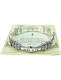 Beautiful John 3:16 Christian Silver Tone Stretch Bracelet