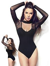 Sexy Black Long Sleeve Mesh-top Bodysuit