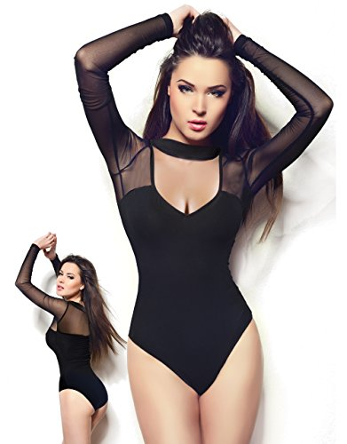 Miorre Sexy Black Long Sleeve Mesh-top Bodysuit