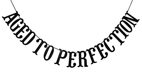 Qttier Aged to Perfection Banner for 50th 60th 70th 80th 90th 100th Birthday Anniversary Party Decorations Supplies Decor Favors Bunting Photo Booth Props Sign (Black -