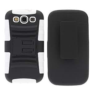 PC de plástico y silicona protectora con clip para el cinturón y soporte para Samsung Galaxy S3 I9300 (Blanco y Negro)