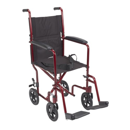 Drive Medical Deluxe Lightweight Aluminum Transport Wheelchair, Red, (Lightweight Wheelchair)