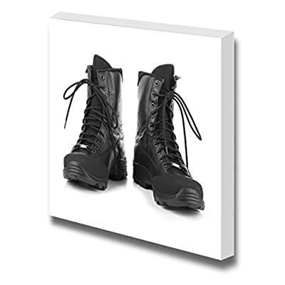 Canvas Prints Wall Art - Combat Boots on White Background | Modern Wall Decor/Home Decoration Stretched Gallery Canvas Wrap Giclee Print. Ready to Hang - 24