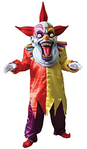 Evil Clown Costume Plus Size (Morris Costumes Mens Haunted Attraction Evil Clown Red And Yellow Party Dress, One Size)