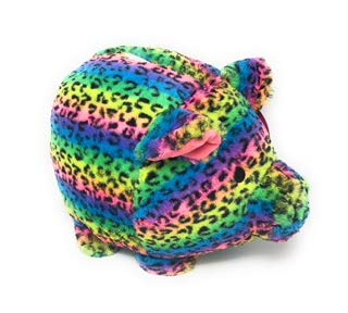 Jumbo Plush Piggy Bank Leopard Rainbow Tie Dye, Hug Me and Fill Me! (Bank Slot Jumbo)