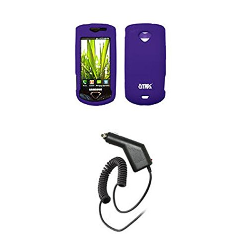 EMPIRE Purple Silicone Skin Cover Case Tasche Hülle + Auto Charger (CLA) for Samsung Gem i100