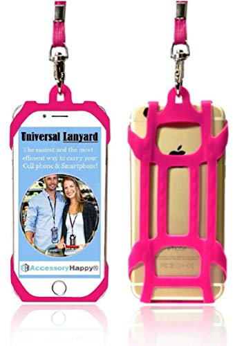 (AccessoryHappy Universal Premium Quality 2 in 1 Lanyard & Card Holder, Cell Phone Tether Neck Strap Silicone Smartphone Case for iPhone 5 6 6S 7 8 8 Plus Galaxy S8 S9 Note 8 9 and Most Smartphones)