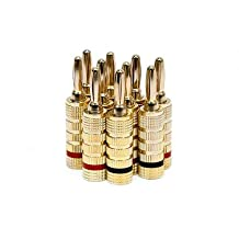 PrimeCables 10x High Quality Copper Speaker Banana Plugs - 5-Pair, Closed Screw Type