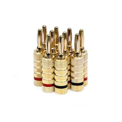 PrimeCables 5 PAIRS High Quality Copper Speaker Banana Plugs, Closed Screw Type Speaker Cable Connector