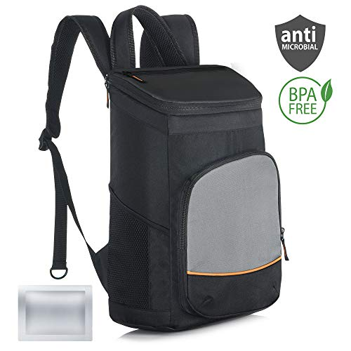 Elantrip 30 CAN Waterproof Backpack Cooler Insulated Leakproof with Ice Pack Heavy Duty Cooler Bag for Lunch Picnic Hiking Camping Beach Day Trips, Black and Gray