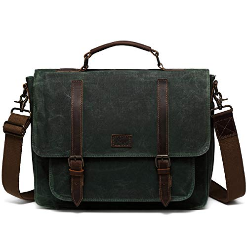 - Laptop Messenger Bag, Kasqo Waxed Canvas Leather 15.6 inch Shoulder Bag Briefcase for Men Satchel with Removable Strap Green