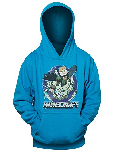 JINX Minecraft Big Boys' Elytra in Flight Pullover Hoodie (Turquoise, Small) -