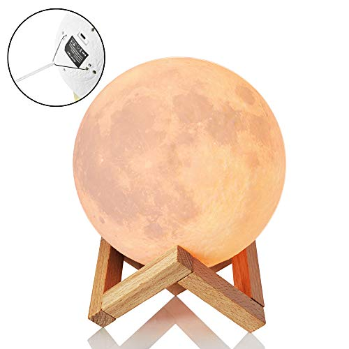 3D Moon Lamp Night Light 5.98 with Stand | Tap Sensor with 3 Color Lunar RGB Lighting Modes | Bedside Night, Rechargeable Globe 3D USB Lamp ● Cool Gift Idea ● with Hanging Strings for Ceiling