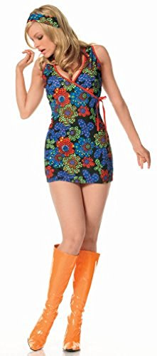 2Pc. Kaleidoscope Print Go-Go Dress W/Headband(MULTICOLOR,MED/LGE) - 70s School Girl Costume