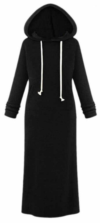 EKU Womens Casual Slim Drawstring Solid Warm Maxi Hooded Dresses