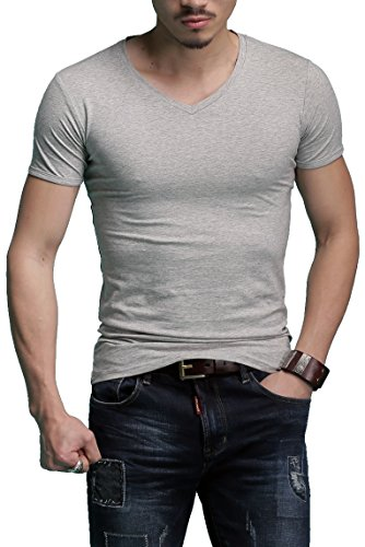 Men's Tagless Slim Fit Top Muscle Cotton V-Neck Short Sleeve Undershirts T-Shirts, S, Grey