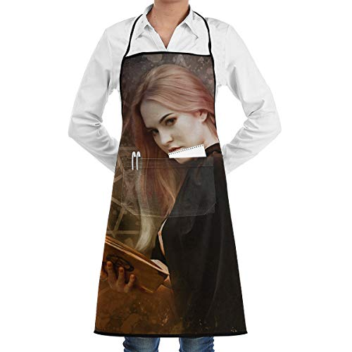 A Glamorous Witch Holding A Magic Book For Halloween BBQ Waiter Housekeeper Pet Grooming Bartender Kitchen Beautician Hairstylist Nail Salon Carpenter Shoeing Wood Painting Artist Pocket Apron -