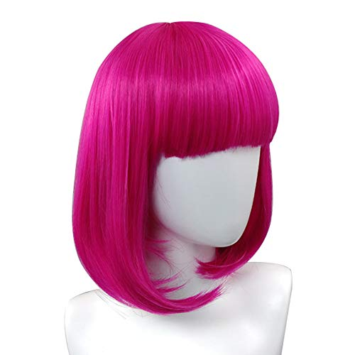 13 Inch Colorful Pink Wigs for Women Short Bob Wigs Synthetic Straight Fun Wigs for Cosplay, Halloween,Costume, Party Pink Color + Free Wig Cap