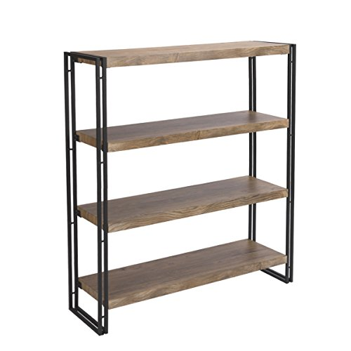 FIVEGIVEN 4 Tier Bookshelf Rustic Industrial Bookcase Etagere Open Office Book Shelf, Sonoma Oak