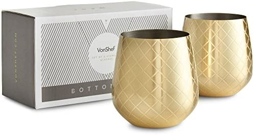 VonShef Stemless Glasses Etched Stainless product image