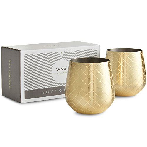 Vonshef Stemless Wine Glasses  Etched Gold Stainless Steel  Set Of 2