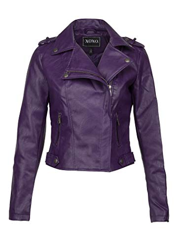 - Womens Purple Faux Leather Moto Biker Jacket – Size Large