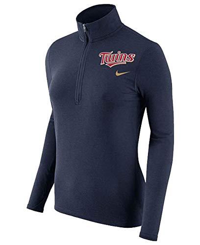 NIKE Women's Minnesota Twins Dri-Fit Half Zip Element Pullover Top - Navy Blue (Large) ()