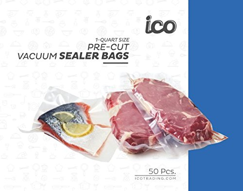 Clear Vacuum Bags for FoodSaver, Quart Size Bags, 50 Count (Vacuum Freezer Storage Bags) Certified BPA and Phthalate Free