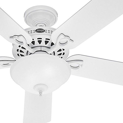 (Hunter Fan 52 inch Snow White Finish Ceiling Fan with Frosted Glass Light)