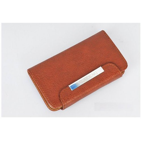 iPhone 5 5S Flip Wallet Holster Leather Case - Brown