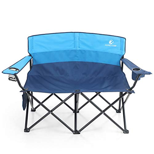 ALPHA CAMP Camping Folding Chair Heavy Duty LoveSeat Support 450 LBS Oversized Steel Frame Collapsible Double Chair with…