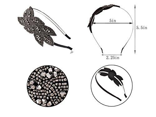 Muster Jahre 1920er Schwarz Blatt Haarband Perlen Graue BlumenstrauRetro Mode YfgIyv76b