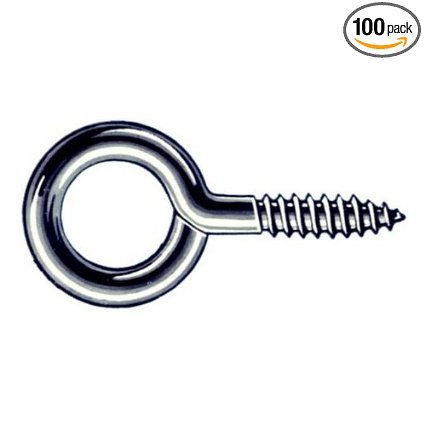 Hindley 100 Count 1-5/8'' Zinc Plated Screw Eyes Large Eye Sold in packs of 100