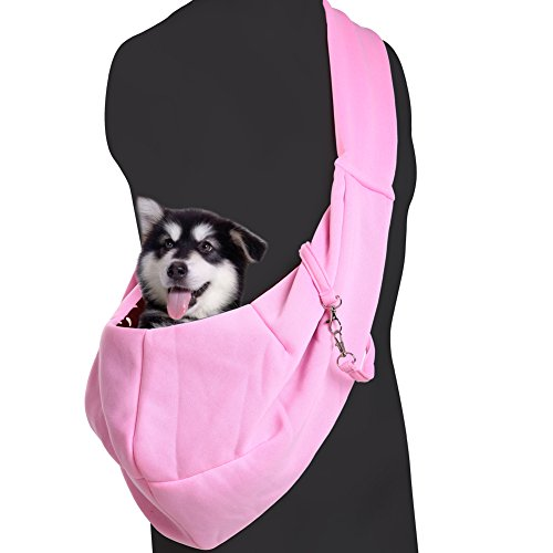Med Carry Bag (Reversible Pet Sling Carrier for Small Dog Cats, Hands-free Shoulder Carry Tote Bags by QBLEEV,Super Soft Front Pack Purse Design for Travel)