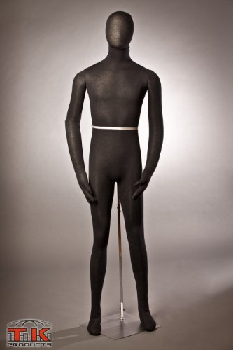 Male Mannequin, Flexible Posable Bendable Full-size Soft -Black,