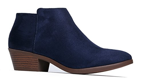 Western Ankle Boot - Cowgirl Low Heel Closed Toe Casual Bootie - Comfortable Walking Slip On,Navy Micro Suede,7.5 B(M) US