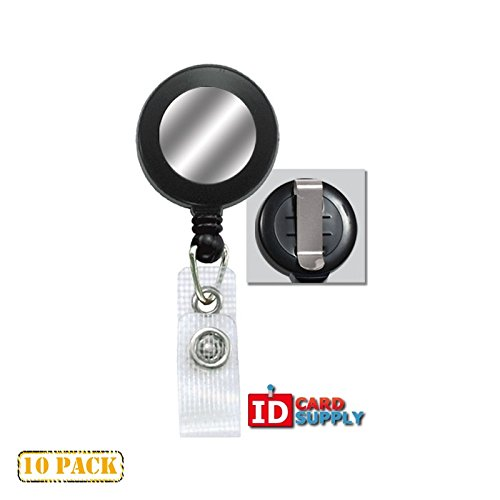 10 x Black Reinforced Badge Reel with Belt Clip and Silver Sticker