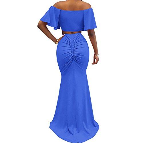 2 Skirt Bodycon4U Shoulder Piece Off Women's Maxi Crop Split Outfits Blue Top Dress 41v1n5q