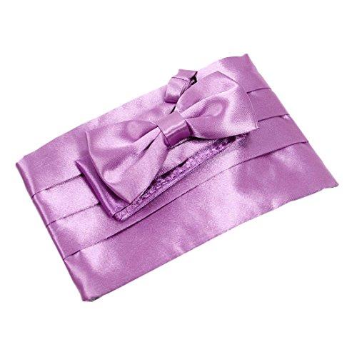 Lilac Cummerbund (Cummerbund +Tie +Hanky Set - TOOGOO(R)Satin Tuxedo Cummerbund+Bow Tie +Hanky Set Prom Wedding lilac)