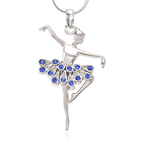 Soulbreezecollection Dancing Ballerina Dancer Ballet Dance Pendant Necklace Charm (Blue)