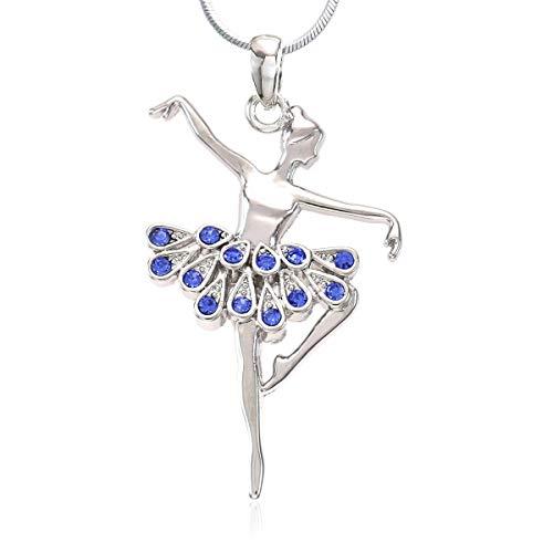 Soulbreezecollection Dancing Ballerina Dancer Ballet Dance Pendant Necklace Charm (Blue)